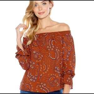 Three Eighty Two Evangeline Off Shoulder Top S NWT
